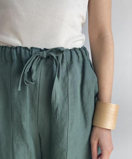 【&her】Rayon Linen Pants/DARKGREEN