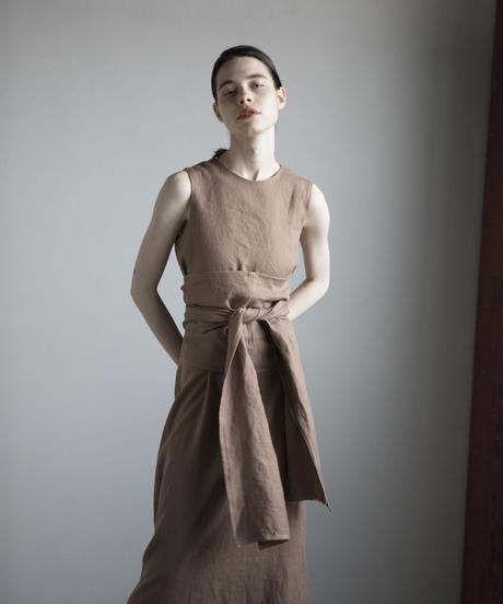 【&her】Linen Long Dress/Moca