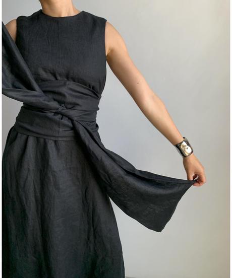 【&her】Linen Long Dress/Black