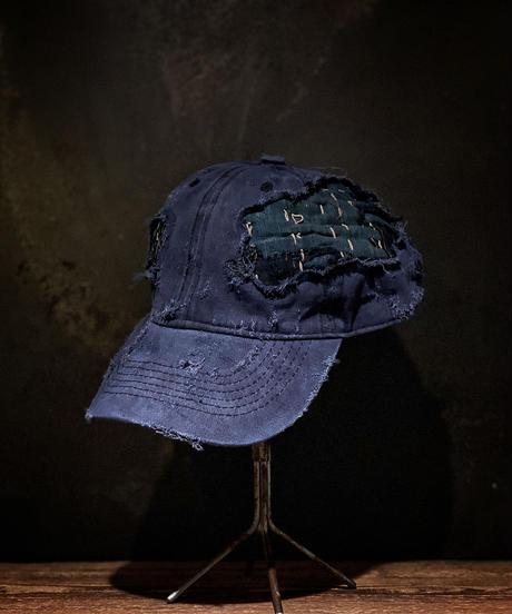 Vintage damage & patchwork CAP (襤褸)(NAVY)
