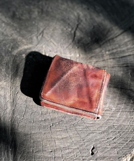 Italian shrink leather W flap Wallet