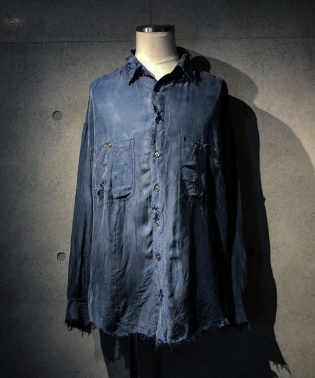 Vintage damage silk100% shirt
