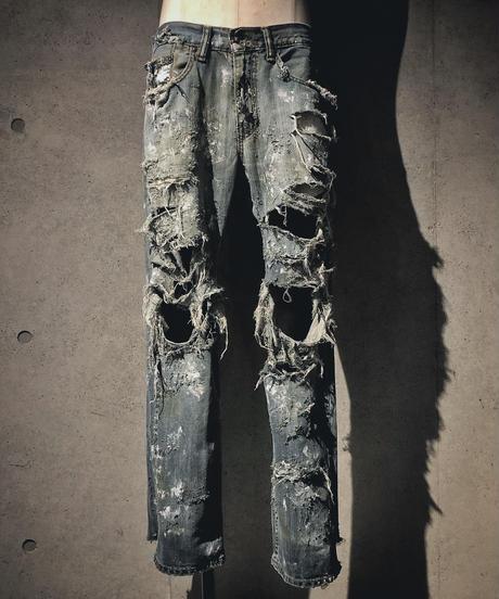 Destroy damage vintage denim pants