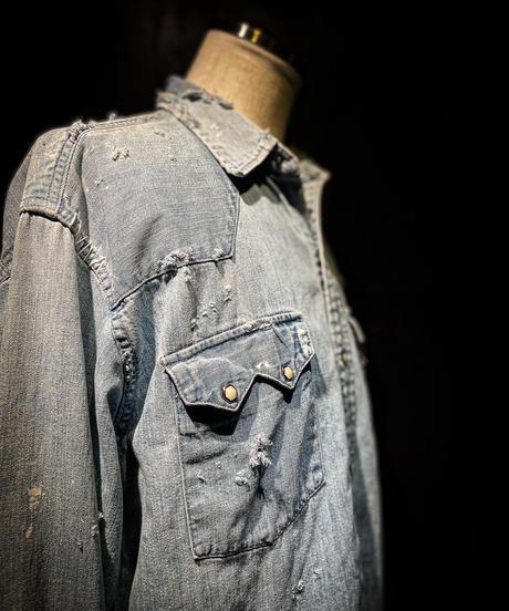 Vintage damage denim shirt #2
