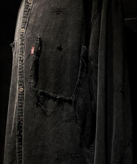 Vintage damage denim shirt #7