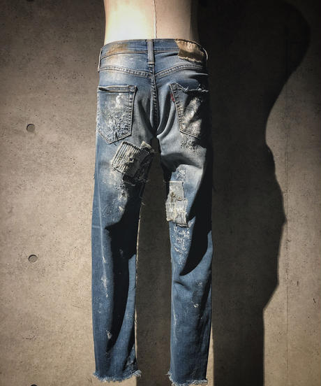 Crust denim stretch skinny pants