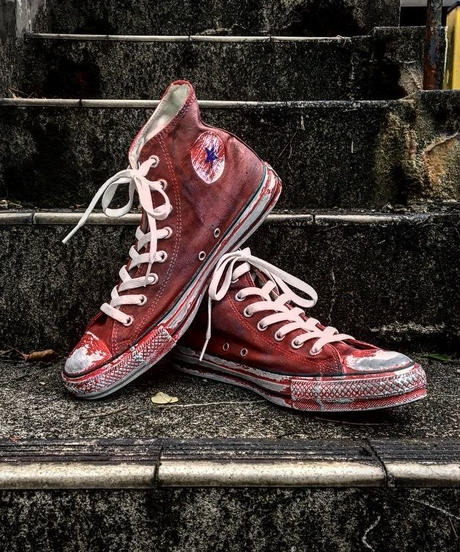 Discoloration Vintage High cut Sneaker RED