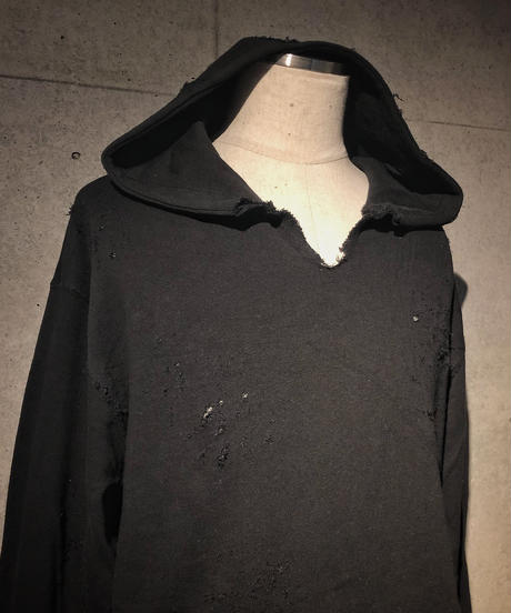 Black denim pocket damage hoodie