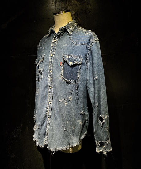 Vintage damage denim shirt #4