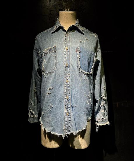 Damage vintage denim shirt #4
