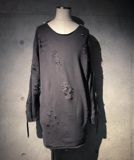 ​AUKENLIEV×RESURRECTION Side Zip Damage Sweat Shirt (CHARCOAL)