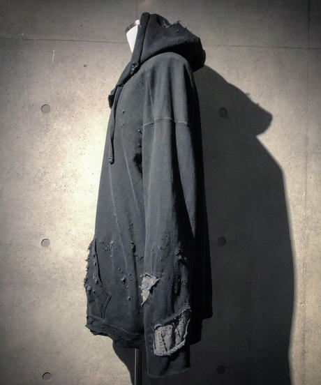 Different fabrics sewn smoke black hoodie