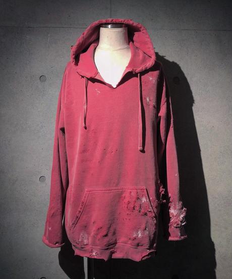 Different fabrics sewn smoke pink hoodie
