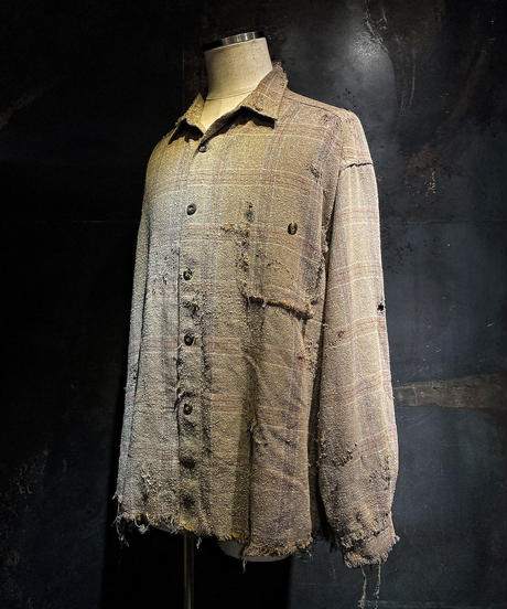 Vintage damage linen check shirt
