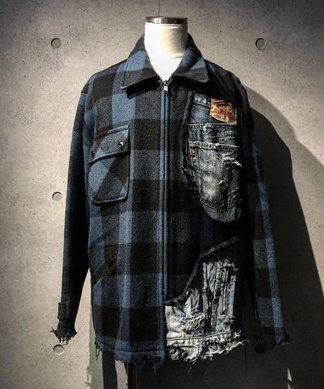 Different fabrics sewn check jacket