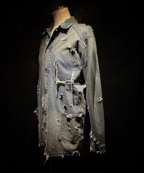 Vintage damage denim coverall jacket