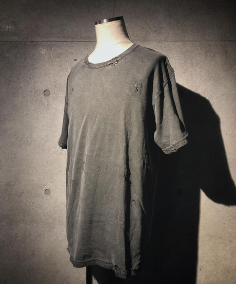Vintage dye damage T-shirt (Old black)