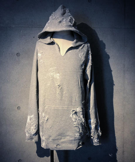 Hard damage & paint gray hoodie