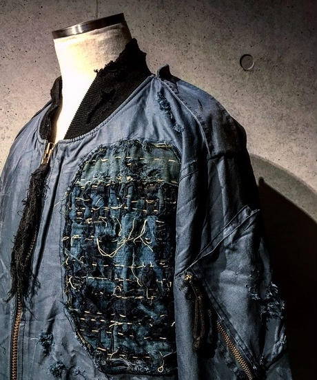 Different fabrics Sewn MA-1 JACKET (襤褸)