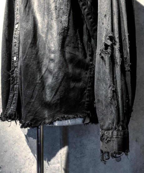 Vintage damage black denim shirt