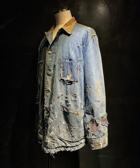 Hard damage vintage Denim coverall jacket
