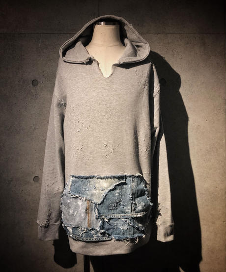 Denim pocket damage hoodie