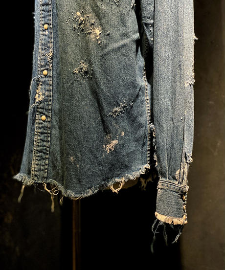 Vintage damage denim shirt #1
