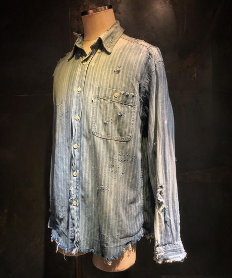 Damage stripe denim shirt