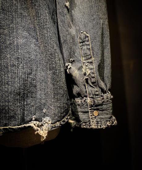 Vintage damage denim shirt #6