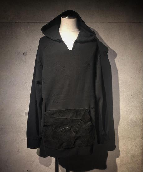 Suede leather pocket damage hoodie