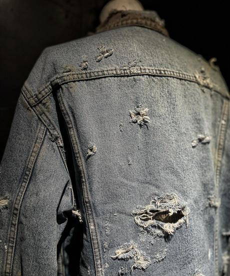 Vintage damage corduroy collar denim jacket