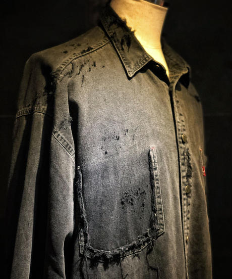 Damage BLACK denim shirt