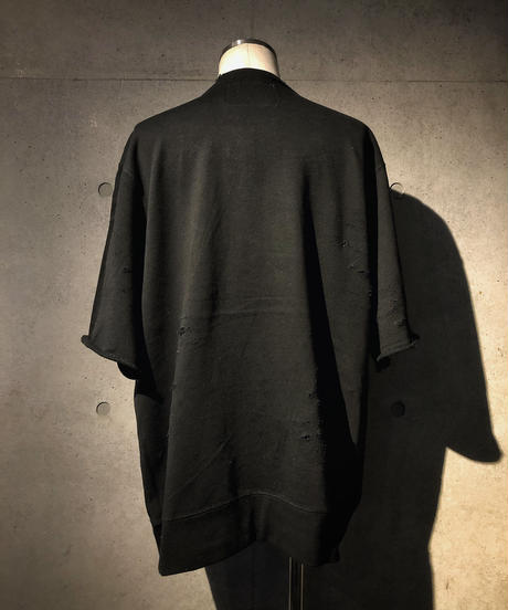 Black denim pocket damage sweat shirt