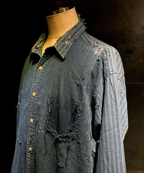 Vintage damage stripe denim shirt