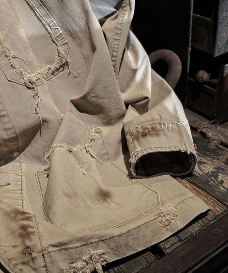 Damage vintage denim coverall jacket