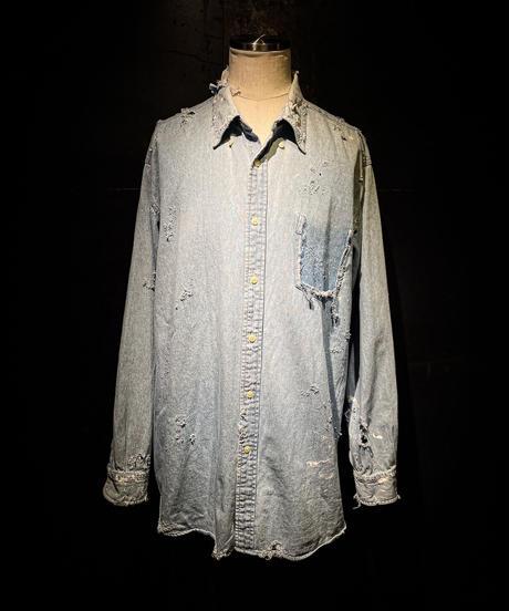 Vintage damage denim shirt #3