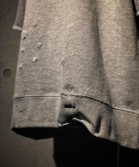 Denim pocket damage gray sweat shirt