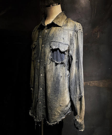 Vintage dye damage denim shirt