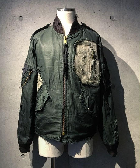 Different fabrics Sewn MA-1 JACKET (KHAKI)