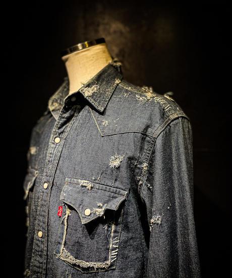 Vintage damage denim shirt #5
