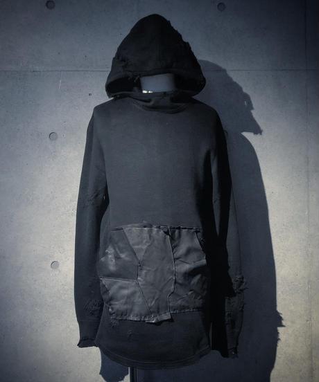 Leather pocket long hoodie