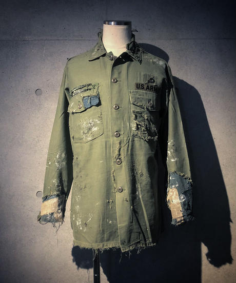 Hard damage&repair military shirt(襤褸)