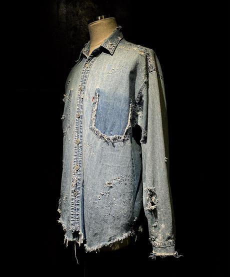 Damage vintage denim shirt #3