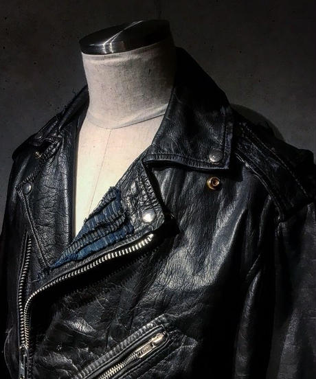 Different fabrics Sewn Rider's Jacket(襤褸)