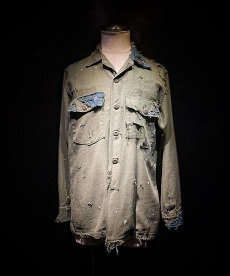 Vintage damage BORO military shirt (襤褸)