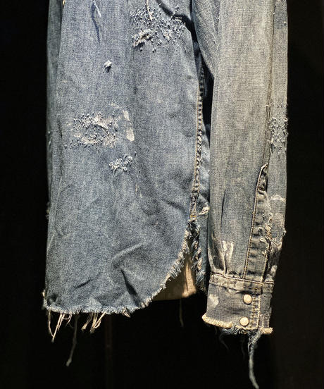 Vintage damage denim shirt #2