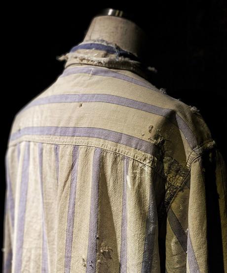 Vintage damage Stripe half shirt #1