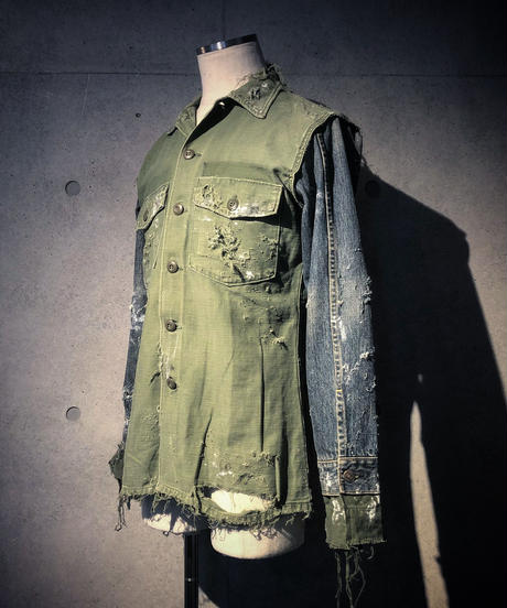 Denim sleeve military shirt jacket