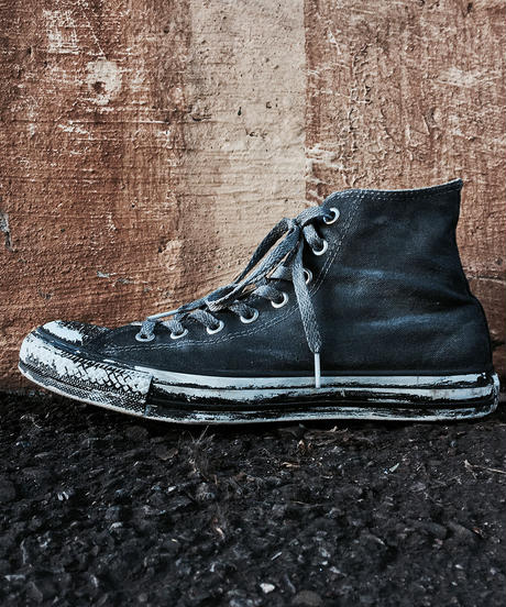 Discoloration Vintage High cut Sneaker Old BLACK