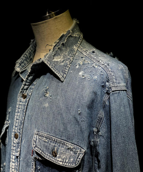 Vintage damage denim shirt #3